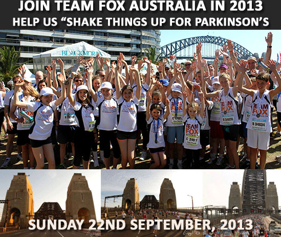 "join Team Fox Australia in the Sydney Running Festival and help us ""Shake things up"" for Parkinson's"